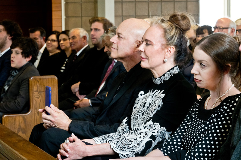 (L-R) Freddy Clarke, Margaret Mitchell, and Freddy's daughter Marilyn Skinner at Pearl Clarke Funeral Mass and life celebration at St. Denis Catholic Church.