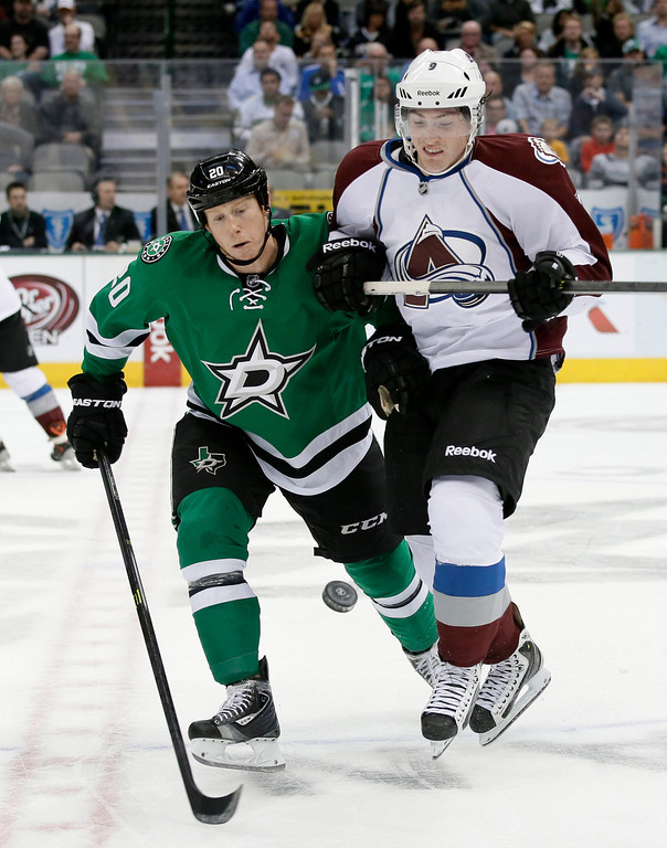 . Dallas Stars center Cody Eakin (20) and Colorado Avalanche center Matt Duchene (9) vie for a loose puck during the first period of an NHL hockey game, Friday, Nov. 1, 2013, in Dallas. (AP Photo/Tony Gutierrez)