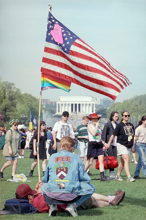 . Gay rights activists gather on the Mall prior to the start of a march, Sunday, April 25, 1993, Washington, D.C. Hundreds of thousands were expected for the march they hope will mark a turning point in their fight for acceptance and equal rights in an often hostile society. (AP Photo/Ron Edmonds)