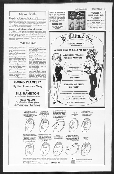 Daily Trojan, Vol. 61, No. 85, March 04, 1970