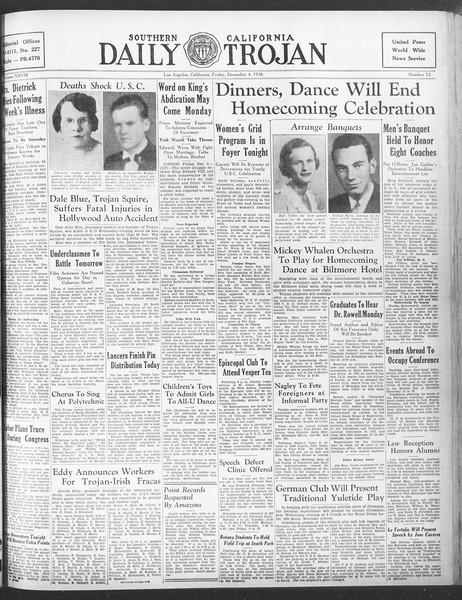 Daily Trojan, Vol. 28, No. 52, December 04, 1936