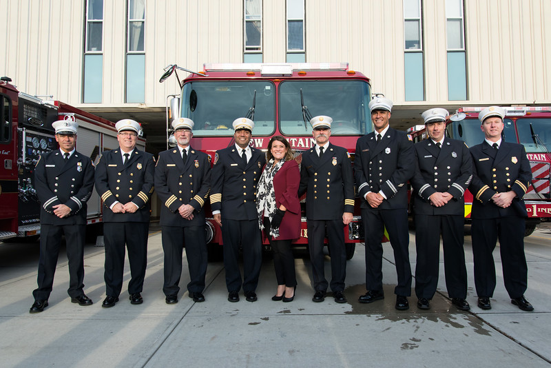11/14/18  Wesley Bunnell | Staff  The New Britain Fire Department unveiled three new fire trucks on Wednesday afternoon during a ceremony at their Beaver St headquarters. Cpt. Gary Turek, Deputy Chief Scott Morgan, Deputy Chief Peter Margentino, Chief Raul Ortiz, Mayor Erin Stewart, Deputy Chief Paul Walsh,  Captain Ricardo Mickens, Captain Paul Couture and Fire Marshal Donald King.