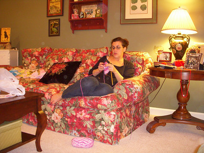 Christina knitting
