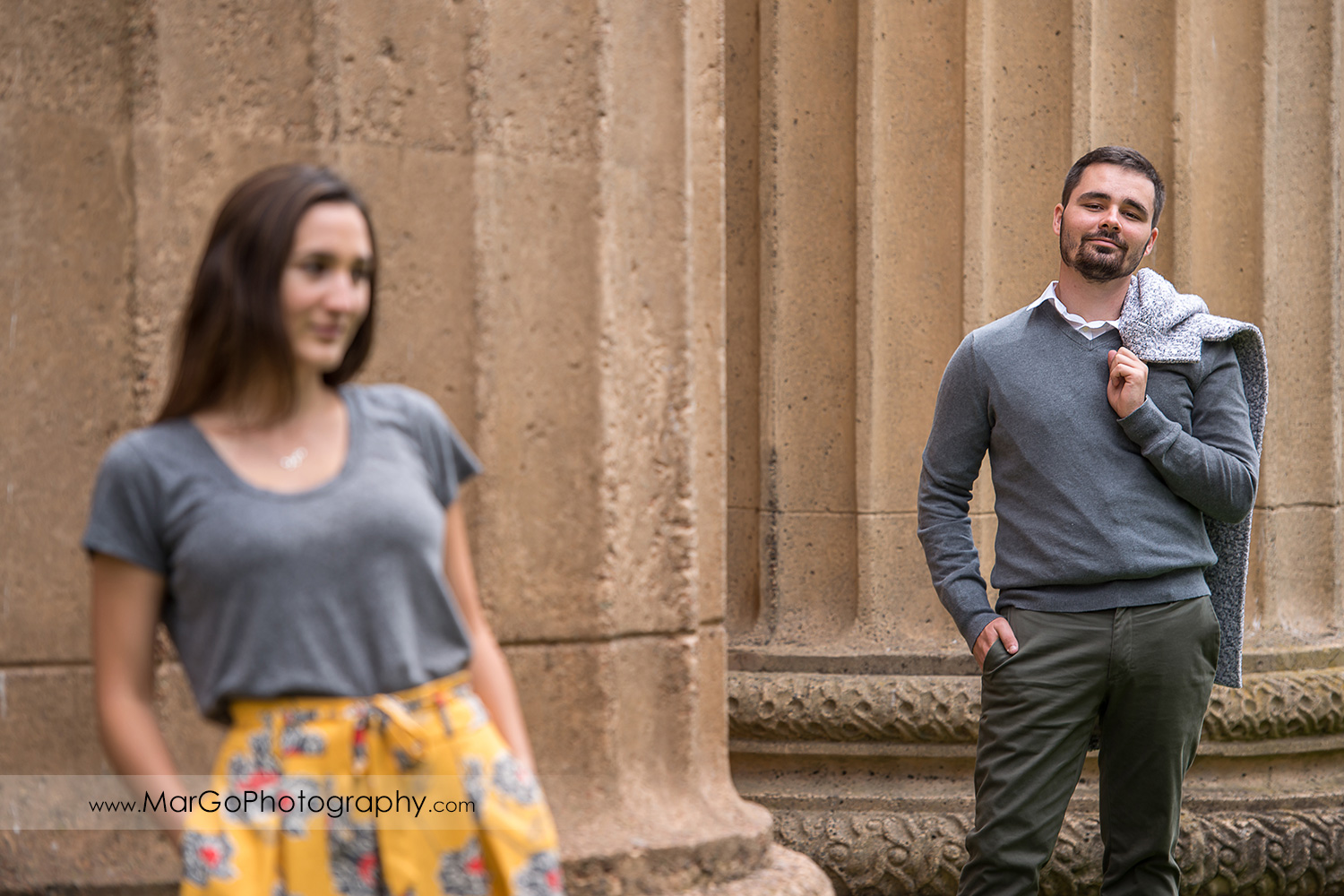 engagement session at Palace of Fine Arts in San Francisco - focus on man