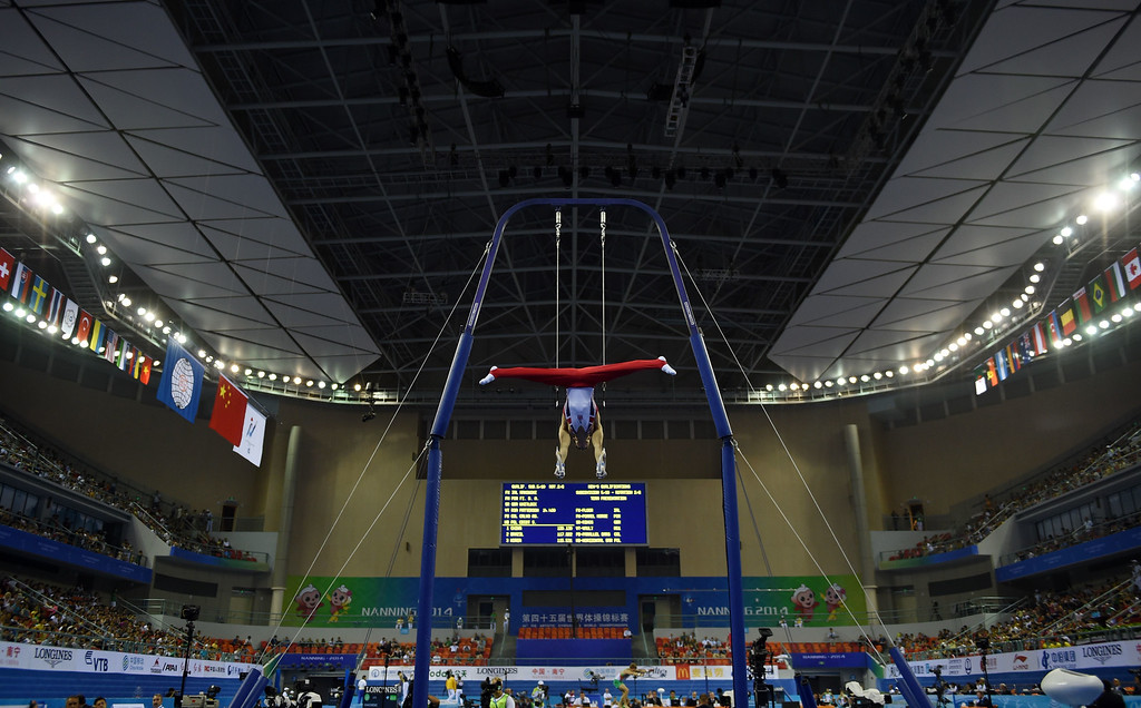 . Britain\'s Max Whitlock performs on the rings during the men\'s qualification at the Gymnastics World Championships in Nanning, in China\'s southern Guangxi province on October 3, 2014. GREG BAKER/AFP/Getty Images