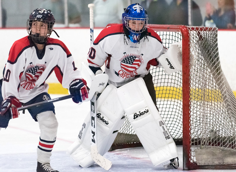 07/26/18  Wesley Bunnell   Staff  Central CT Capitals (Newington) 14U skated to a scoreless tie against Simsbury on Thursday evening at Newington Arena in a Nutmeg Games contest. Goal keeper Jacob Markowitz (30) and Andrew Hazard (10).