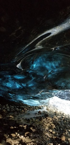 blue ice inside glacier