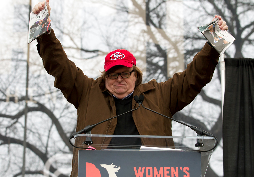 . Film director Michael Moore speaks during the Women\'s March on Washington, Saturday, Jan. 21, 2017 in Washington. (AP Photo/Jose Luis Magana)