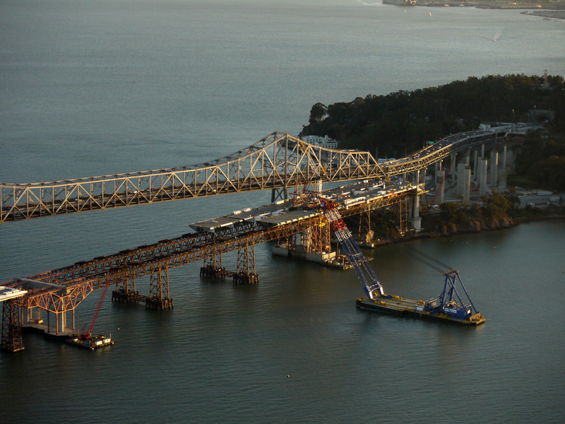 New and old spans of the Bay Bridge