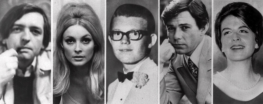 . Combo image shows the five victims slain the night of Aug. 9, 1969 at the Benedict Canyon Estate of Roman Polanski. From left, Voityck Frykowski, Sharon Tate, Stephen Parent, Jay Sebring, and Abigail Folger. The next night, it happened again. Rosemary and Leno LaBianca, a wealthy couple who lived across town, were stabbed to death in their home. Forty seven years  later, the ghosts of the Tate-La Bianca murders will not rest. The Charles Manson cult that carried them out haunts the Internet and a new generation is oddly fixated on the nation\'s most bizarre and notorious killings. (AP Photo/File)