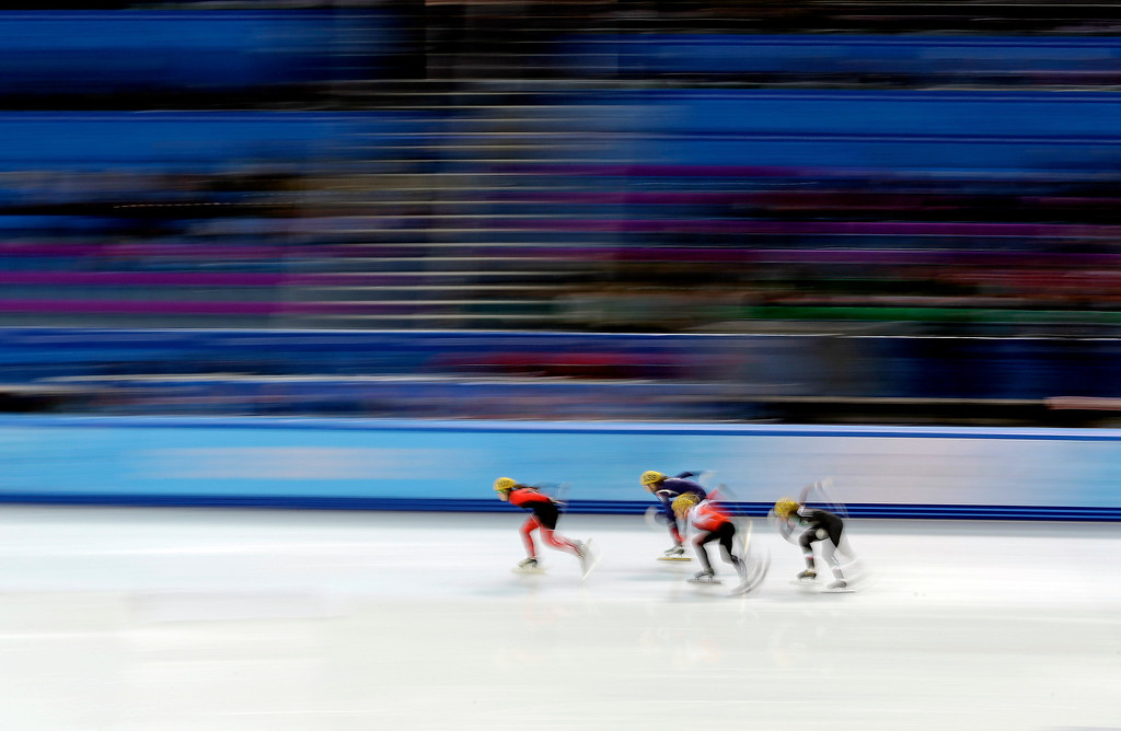 . Skaters compete during the women\'s 500m short track speedskating race at the 2014 Winter Olympics, Monday, Feb. 10, 2014, in Sochi, Russia. (AP Photo/Morry Gash)