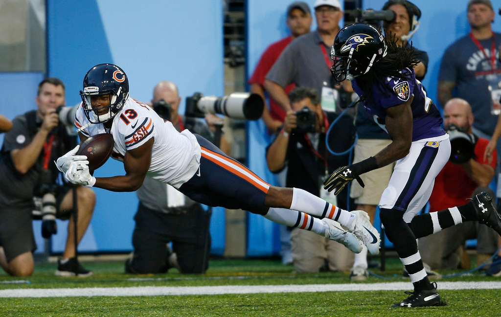 . Chicago Bears wide receiver Bennie Fowler can\'t make the catch in the first half against the Baltimore Ravens at the Pro Football Hall of Fame NFL preseason game, Thursday, Aug. 2, 2018, in Canton, Ohio. (AP Photo/Ron Schwane)