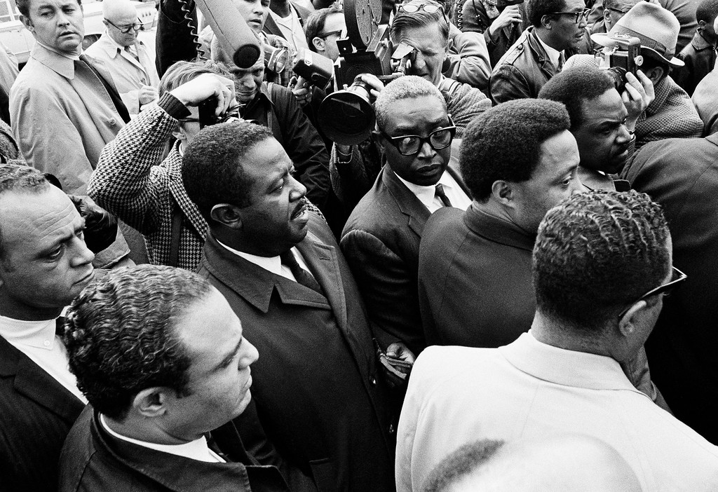 . Civil rights leader Rev. Ralph Abernathy is shown after a short memorial service for the slain Dr. Martin Luther King, Jr., in Memphis, Tenn., April 5, 1968.  Dr. King was assassinated yesterday.  Rev. Abernathy was named to take over the Southern Christian Leadership today. (AP Photo)