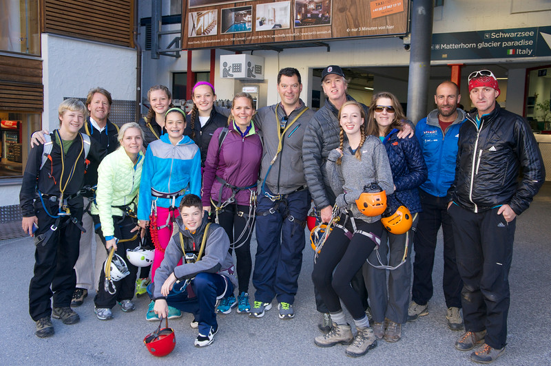 The Sunday gorging group getting ready to head up to Furi (Martin and Thomas the Swiss Guides are to the far right; I am not quite sure why they are so serious:)!)