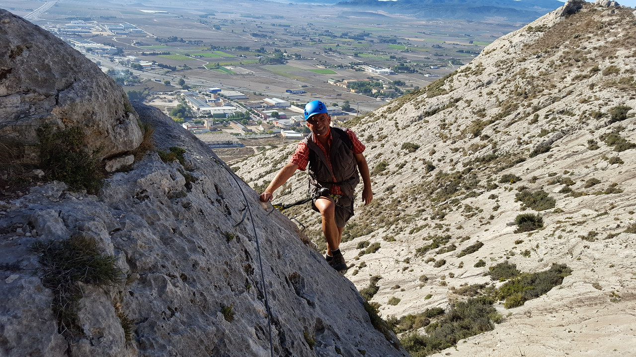 First pitch for Alfred at Castillo de Salvatierra Via Ferrata