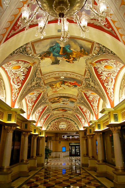 The Grand Hall leading to outdoor gondolas, Las Vegas Blvd, and Doge's Palace. The Venetian Hotel.