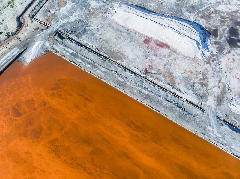 Velddrift salt pan orange abstract, Western Cape, South Africa