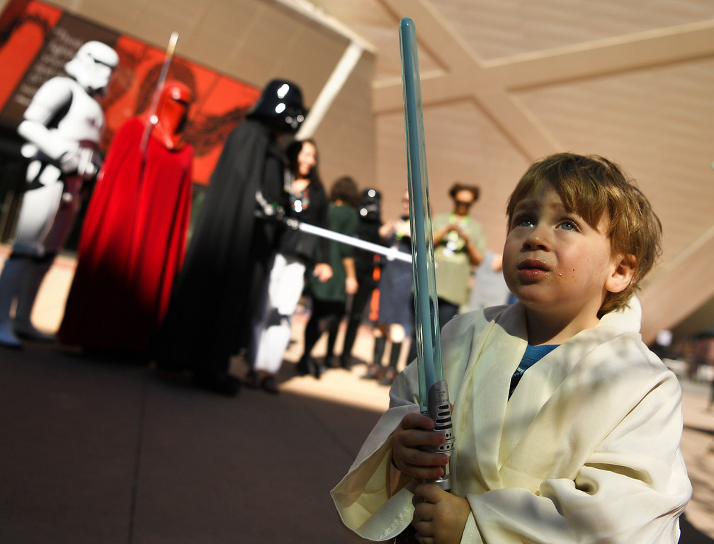 . Jude Lev, 3, is ready to battle the dark side outside the Denver Art Museum, May 04, 2016. (Photo by RJ Sangosti/The Denver Post)