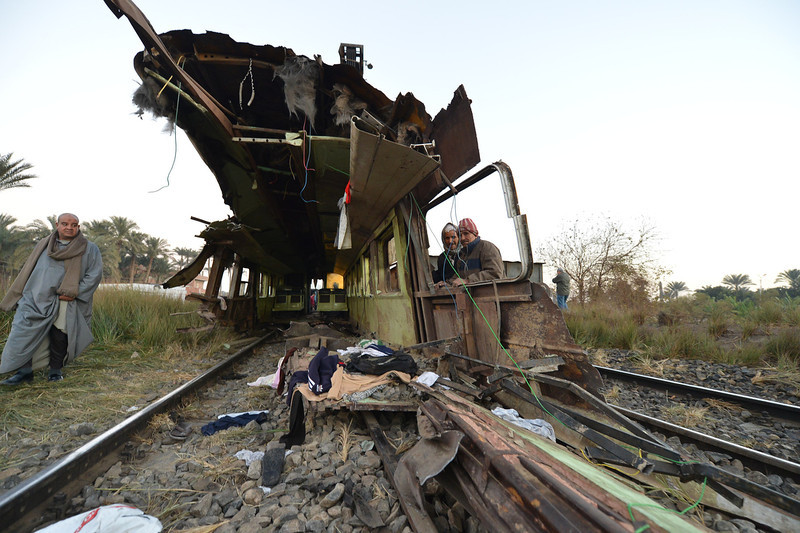 . Egyptian workers remove the wreckage of a train in the Giza in Badrashin, about 40 km south of Cairo, on January 15, 2013, at least 19 people where killed and injured 105. The train carrying conscripts from south Egypt to Cairo derailed in the Giza neighbourhood of Badrasheen, state media reported. Giza governor Ali Abdelrahman said emergency services were at the scene and ambulances were ferrying the injured to hospital. The accident is the latest in a string of transport disasters plaguing the country.   KHALED DESOUKI/AFP/Getty Images