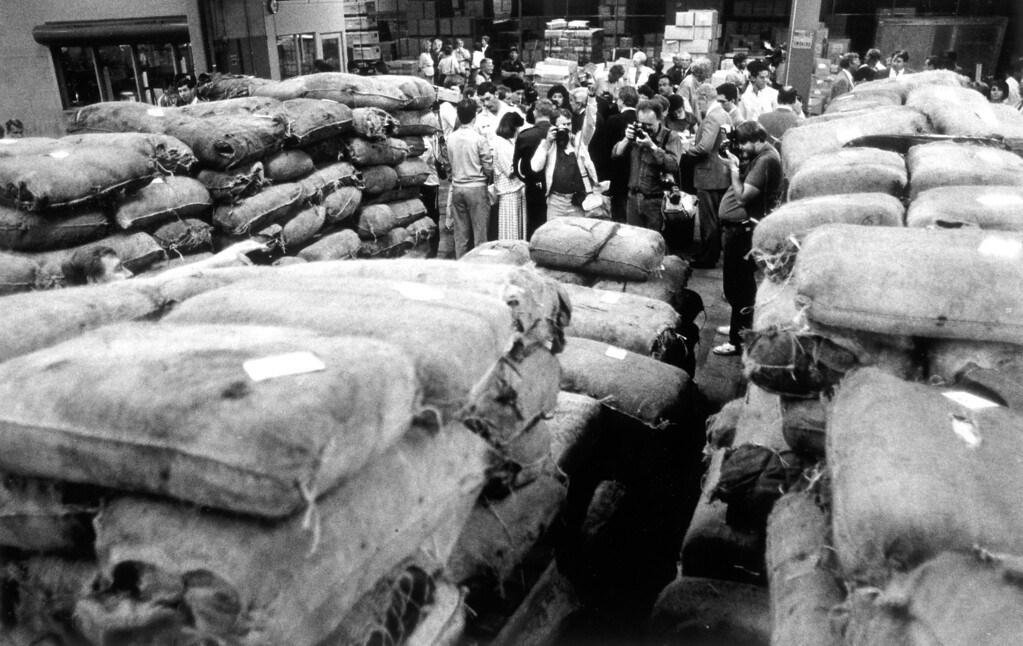 ". April 30, 1985: Ten tons of marijuana were seized by the Coast Guard as part of ""Operation Pacific Task Force.\"" The Coast Guard said the haul was a record for L.A. Harbor.   L.A. Daily News file photo"