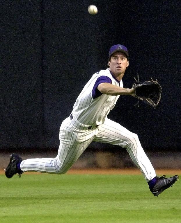 . STEVE FINLEY -- Arizona Diamondbacks\'  Steve Finley robs Los Angeles Dodgers\' Eric Karros of a base hit during the second inning on  May 24, 2002 at Bank One Ballpark in Phoenix. (AP Photo/Matt York)