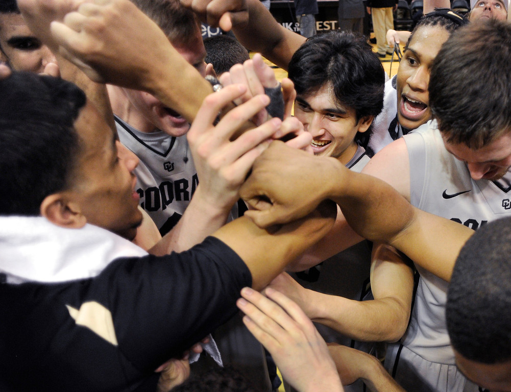 . BOULDER, CO. - MARCH 7: in the second half. The University of Colorado men\'s basketball team defeated Oregon 76-53 Thursday night, March 7, 2013 at the CU Events Center in Boulder. (Photo By Karl Gehring/The Denver Post)