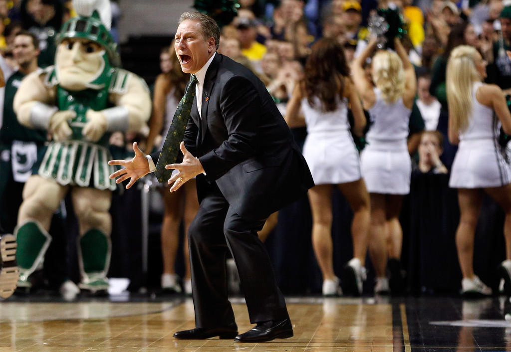 . AUBURN HILLS, MI - MARCH 23:  Head coach Tom Izzo of the Michigan State Spartans reacts as he coaches in the first half against the Memphis Tigers during the third round of the 2013 NCAA Men\'s Basketball Tournament at The Palace of Auburn Hills on March 23, 2013 in Auburn Hills, Michigan.  (Photo by Gregory Shamus/Getty Images)