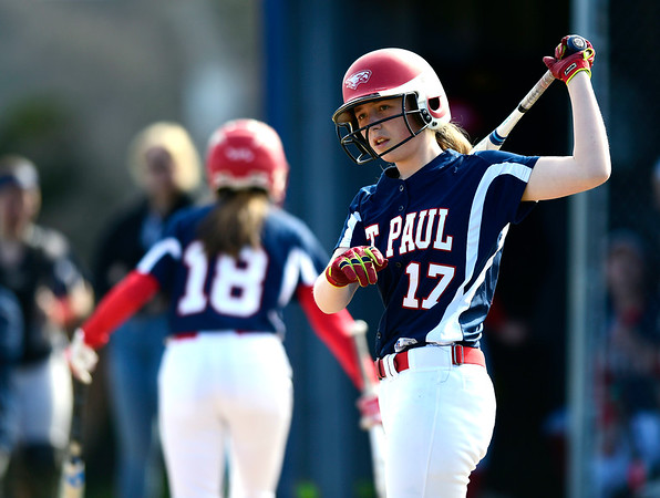 4/17/2019 Mike Orazzi | Staff St. Paul softball's Gillian Smith (17) during Wednesday's game in Bristol.