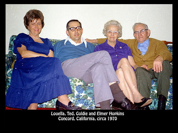 Louella, Ted, Goldie and Elmer Hopkins, probably in Concord, California in about 1970.