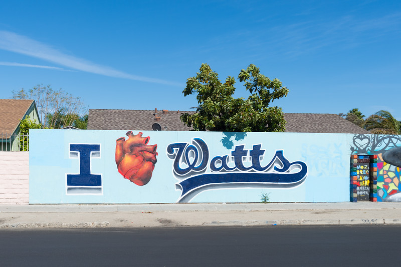 """I Love Watts"" street art in Watts part of Los Angeles."