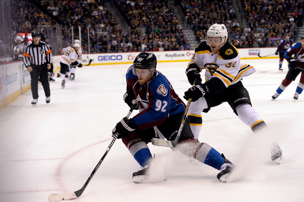 . DENVER, CO - JANUARY 21: Colorado Avalanche left wing Gabriel Landeskog (92) chases down the puck as he gets pressure from Boston Bruins center Carl Soderberg (34) during overtime January 21, 2015 at Pepsi Center. (Photo By John Leyba/The Denver Post)