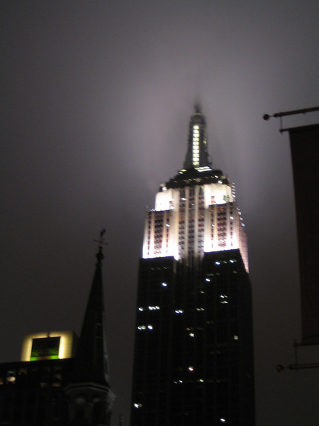 The Empire State Building on a foggy night