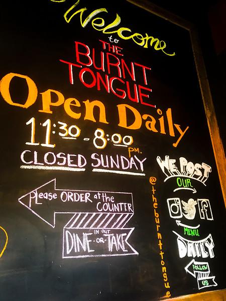 Hamilton best restaurants the Burnt tongue sign.jpg