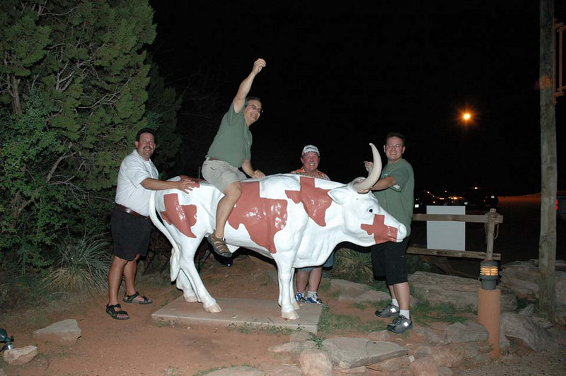After the movie (cancelled due to technical difficulties), the guys get a little crazy with the steer.