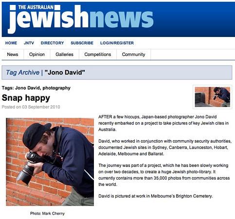 Australian Jewish News, Friday, September 3, 2010: Melbourne, Australia