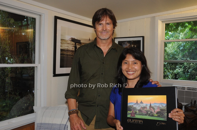 David Heath  with Hnin Lfkhaing during signing books he is a Adventure Photographer  who Raises Funds to Give  Back  to Myanmar during book signing at Urban Zen boutique in Sag Harbor. July 23, 2016.