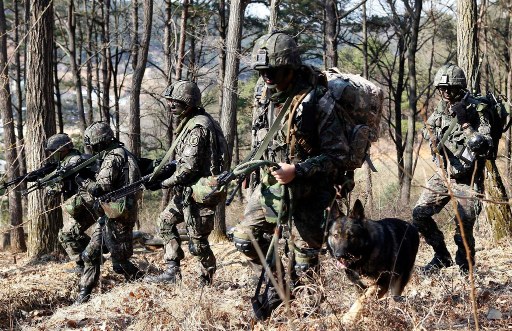 ". South Korean soldiers participate in a search operation during their military drill in Daejeon, about 160 km (99 miles) south of Seoul April 16, 2013. North Korea issued new threats against South Korea on Tuesday, vowing ""sledge-hammer blows\"" of retaliation if South Korea did not apologise for anti-North Korean protests the previous day when the North was celebrating the birth of its founding leader.   REUTERS/South Korean Army/Handout"