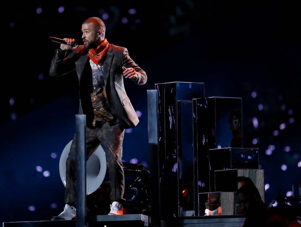 . Justin Timberlake performs during halftime of the NFL Super Bowl 52 football game between the Philadelphia Eagles and the New England Patriots Sunday, Feb. 4, 2018, in Minneapolis. (AP Photo/Matt York)