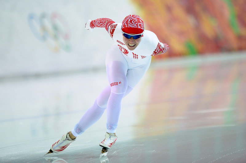 . Russia\'s Olga Graf competes in the Women\'s Speed Skating 5000 m at the Adler Arena during the Sochi Winter Olympics on February 19, 2014.  (JUNG YEON-JE/AFP/Getty Images)