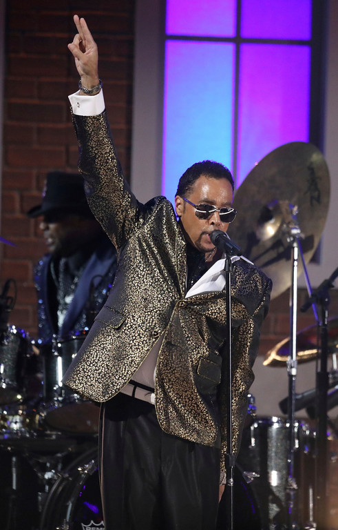 . Morris Day of The Time performs a tribute to Prince at the 59th annual Grammy Awards on Sunday, Feb. 12, 2017, in Los Angeles. (Photo by Matt Sayles/Invision/AP)
