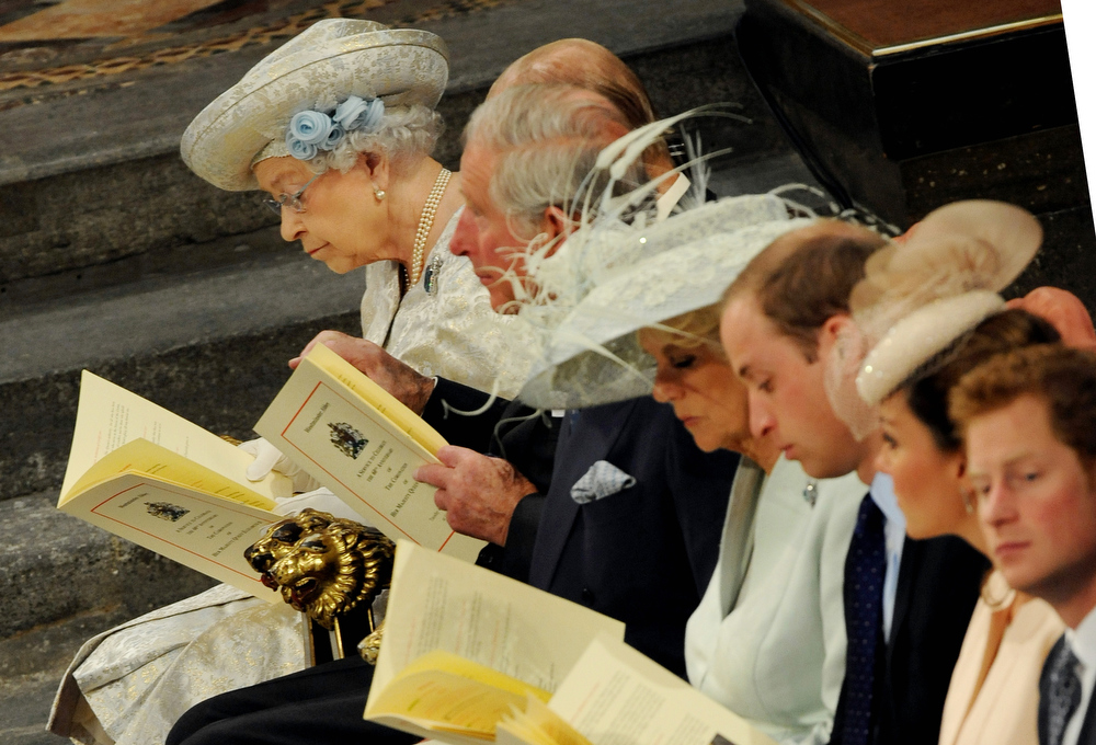 . Queen Elizabeth II (L) sits amongst members of the Royal family during the service to celebrate the 60th anniversary of the Coronation of Queen Elizabeth II at Westminster Abbey in London on June 4, 2013.   Queen Elizabeth II marked the 60th anniversary of her coronation with a service at Westminster Abbey filled with references to the rainy day in 1953 when she was crowned.  Anthony Devlin/AFP/Getty Images