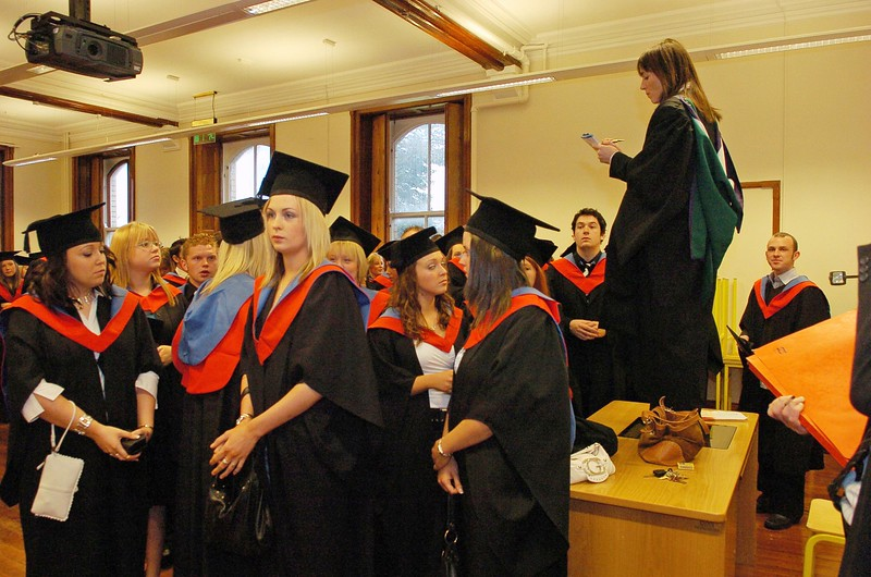 Provision 251006 Doing a class roll call before the graduation ceremony in WIT on Wednesday. PIC Bernie Keating/Provision