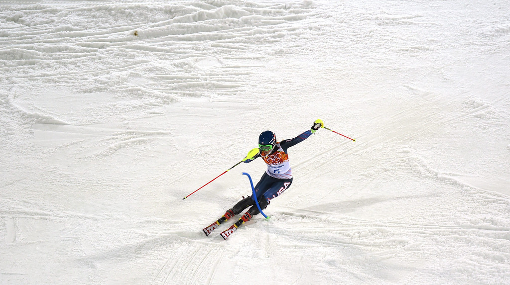 . Mikaela Shiffrin of the US in action during the second run of the Women\'s Slalom race at the Rosa Khutor Alpine Center during the Sochi 2014 Olympic Games, Krasnaya Polyana, Russia, 21 February 2014.  EPA/JUSTIN LANE
