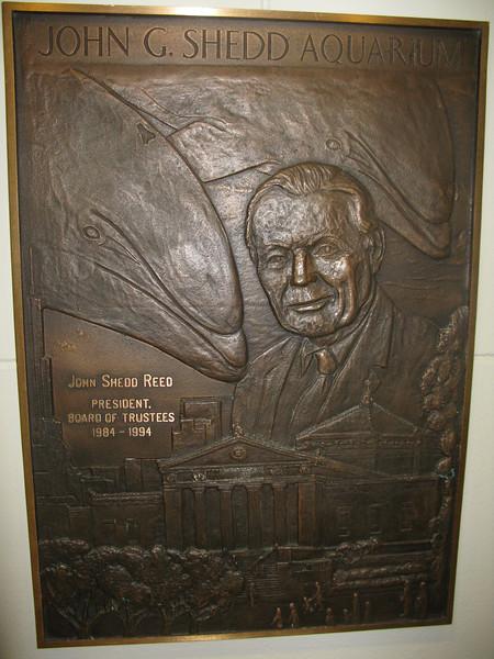 John G. Sheed Aquarium plaque