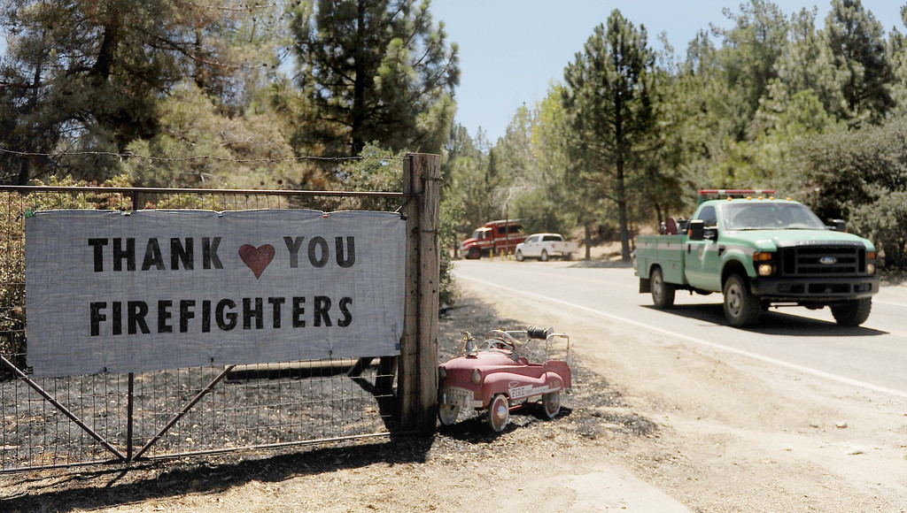 ". (8-9-13-Banning--Metro--A sign read ""Thank you Firefighters in the Twin Pines Rancho area south of Banning during the Silver Fire  Friday August 9, 2013. The Fire burned 11,000 acres.LaFonzo Carter/ Staff Photographer"