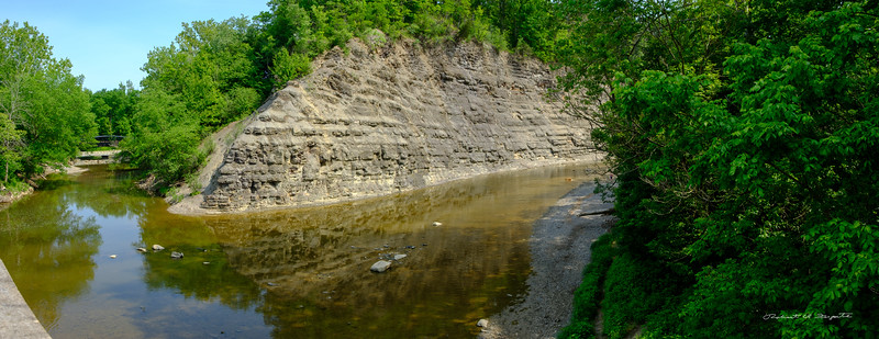 East Branch of the Rocky River (left) joins the Rocky River (right).