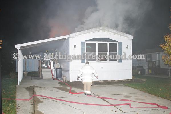 10/28/11 - Mason mobile home fire, 328 Oak Ridge