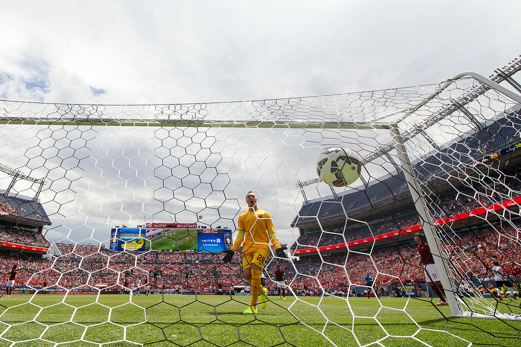 . AS Roma goalkeeper Bogdan Lobont looks on in frustration as Manchester United scores its second goal of the first half against AS Roma during an exhibition match of the Guinness International Champions Cup at Sports Authority Field at Mile High on July 26, 2014, in Denver, Colorado. (Photo by Daniel Petty/The Denver Post)