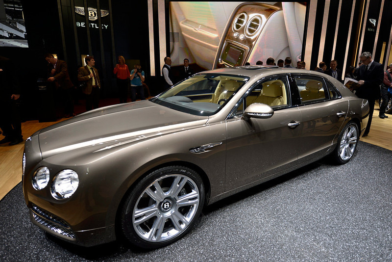 . The new Bentley Motors Flying Spur is shown during the press day at the 83rd Geneva International Motor Show in Geneva, Switzerland, Tuesday, March 5, 2013. The Motor Show will open its gates to the public from 7th to 17th March presenting more than 260 exhibitors and more than 130 world and European premieres. (AP Photo/Keystone, Martial Trezzini)