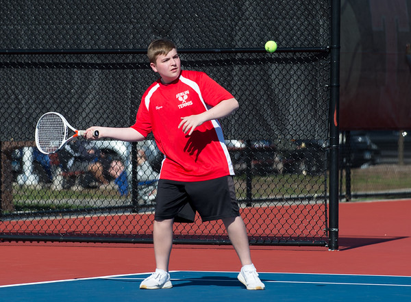 04/16/19 Wesley Bunnell | Staff Bristol Eastern boys tennis at Berlin on Tuesday afternoon.